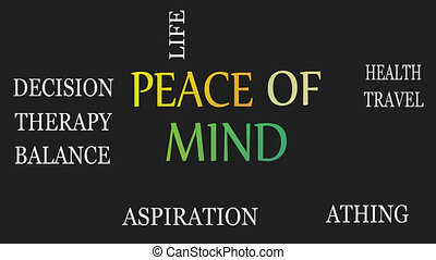 Peace of mind, motivational and inspirational concept. Black...