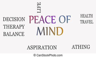 Peace of mind, motivational and inspirational concept. White...