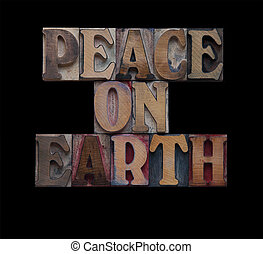 peace on earth in old wood type