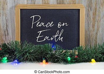 peace on earth message on chalkboard