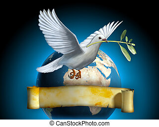White dove carrying an olive branch as a peace symbol. The Earth and an old banner on background. Copyspace on banner to insert your own text. Digital illustration.