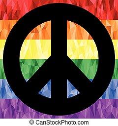 Peace on rainbow poly art  flag