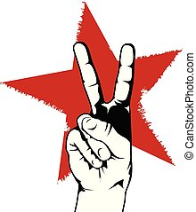 Peace or victory hand gesture in front of red star