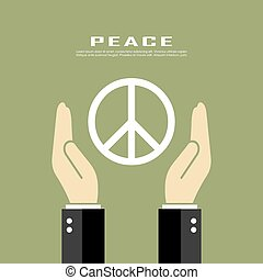Peace pacifism vector poster and symbol