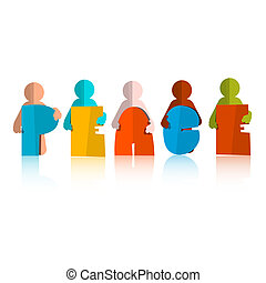 Peace Paper Cut Title with Men - People Icons