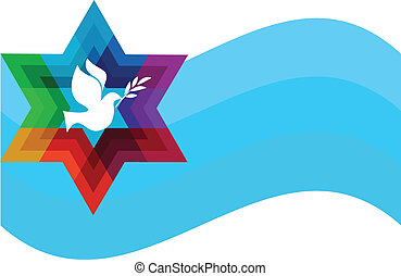 peace pigeon on background of blue waves. illustration