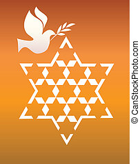 peace pigeon with david star on orange - peace symbols,...