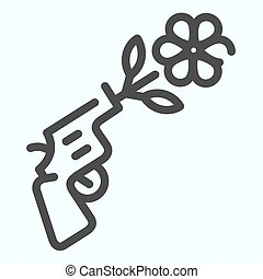 Peace pistol line icon. Pistol with peace symbol vector illustration isolated on white. Gun shooting flower outline style design, designed for web and app. Eps 10.