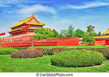 peace-, place tiananmen, palais, beijing, musée, (gugun).,...