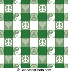 Peace Plaid in Green