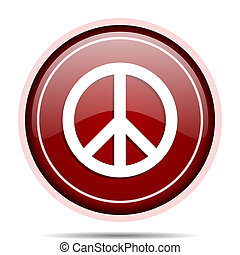 Peace red glossy round web icon. Circle isolated internet button for webdesign and smartphone applications.