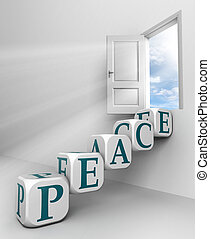 peace red word conceptual door with sky and box ladder in...