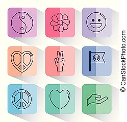 peace related icons over colorful squares and white...