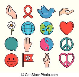 peace related icons over white background colorful design...