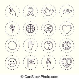peace related icons over white background vector...