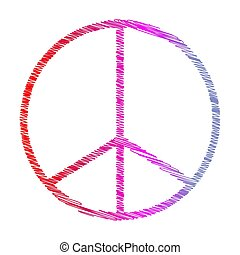 A colorful peace symbol shape scribble background image.