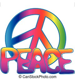 PEACE sign and PEACE text - Hand drawn Peace text in hippie...