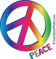 PEACE sign and PEACE text - Hand drawn Peace text in rainbow...