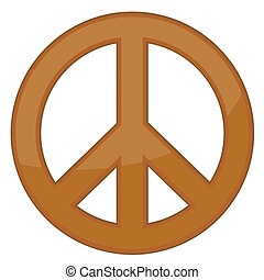 Peace sign / bronze / Vector - Bronze peace sign on white...