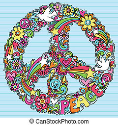 Peace Sign Dove Psychedelic Doodles - Hand-Drawn Psychedelic...