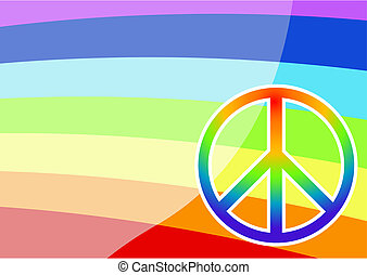 Peace sign - Editable vector colorful background with peace...