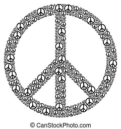 Peace Sign formed by many small peace symbols. Illustration...