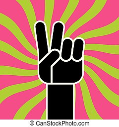 Peace Sign Hand Gesture flat vector drawing.