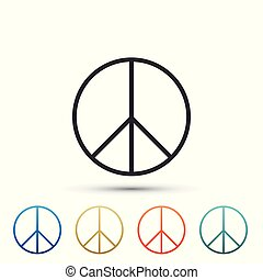 Peace sign icon isolated on white background. Hippie symbol of peace. Set elements in colored icons. Flat design. Vector Illustration