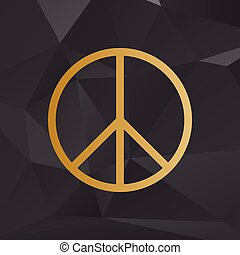 Peace sign illustration. Golden style on background with polygons.