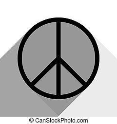 Peace sign illustration. Vector. Black icon with two flat gray shadows on white background.