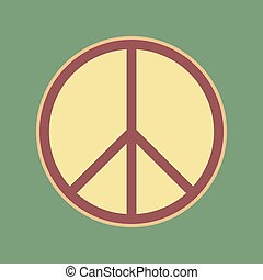 Peace sign illustration. Vector. Cordovan icon and mellow...