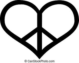 Peace sign in heart shape