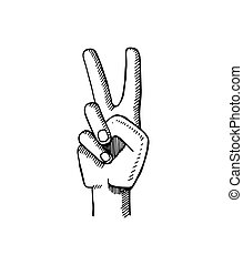Peace Sign Made by Two Fingers Vector Illustration