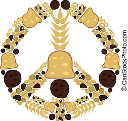 Peace sign made of bakery goods