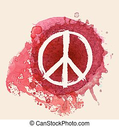 Peace sign on red water color ink splat background