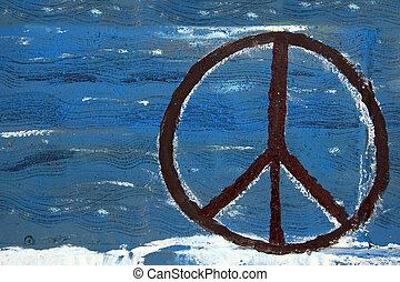 Peace sign painted on wooden board.