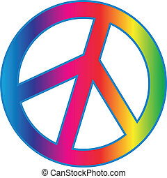 PEACE sign with rainbow gradient fill