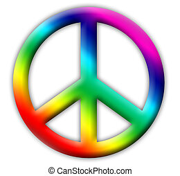 Peace sign - rainbow-colored embossed peace icon