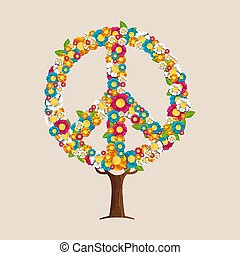 Peace sign tree made of spring flowers