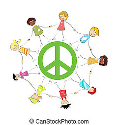 peace sign with kids