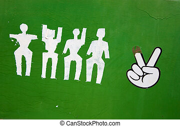 Peace sign with pictos - Peace sign on a green background...