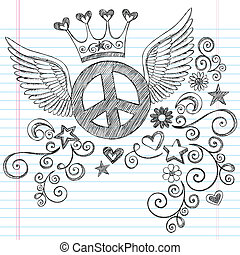 Hand-Drawn Sketchy Peace Sign Doodle with Angel Wings and Princess Tiara Crown on Lined Notebook Paper Background- Vector Illustration