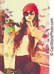 Peace Skater Girl - Skater girl doing peace sign