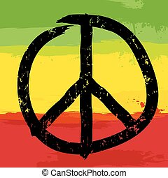 Peace symbol and rastafarian colors in background, vector