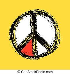 Peace symbol drawing.