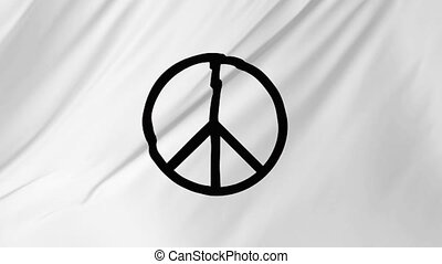 Peace symbol fluttering in the wind animation 2 in 1