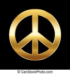 Peace Symbol Gold On Black