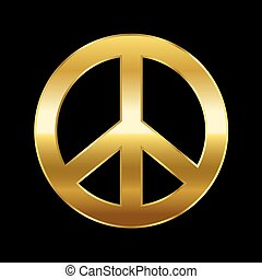 Peace Symbol Gold On Black