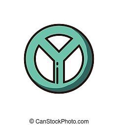peace symbol icon, colorful fill style
