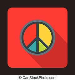 Peace symbol icon, flat style